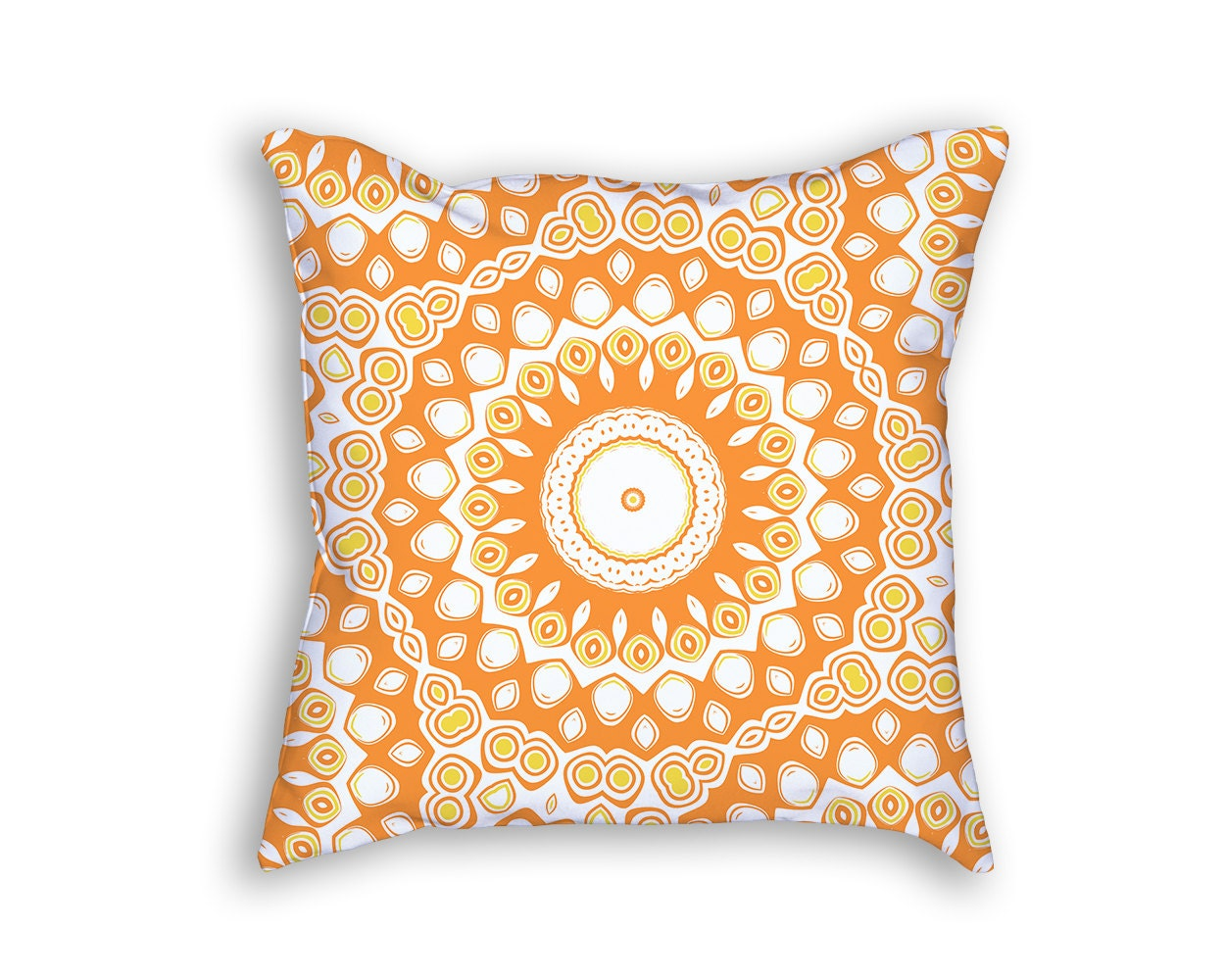 Bright Yellow Decorative Pillows : Mandala Throw Pillow Bright Orange Yellow by ColorlightPrintables