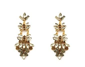 Brass Base Vintage Style Crystal Rhinestone Chandelier Earrings In Sage