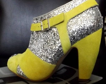 Yellow Glitter Funk Boots from Spain are Wild