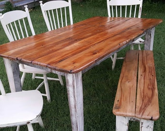 Farmhouse table no chairs one bench chairs extra but will not be same as shown  6ft or 7ft available
