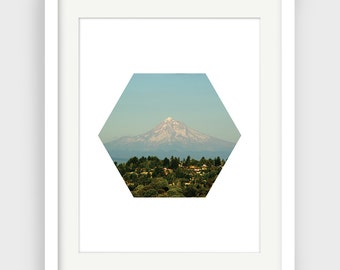 Hexagon Photograph, Mt Hood Photography, Portland Photography, Mountain Print, Geometric Photo, Mt Hood Print, Downloadable, Minimal Decor
