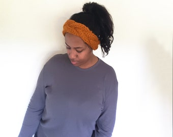 Boho Chic braided knit headband//Butterscotch