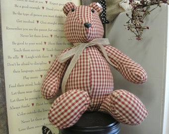 Burgundy Homespun Vintage Bear