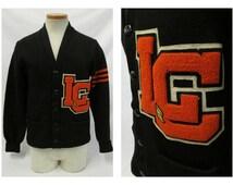 Vintage Lewis and Clark Octonek Letterman Varsity Wool Sweater / Black & Orange