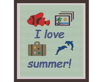 I Love Summer Counted Cross Stitch Pattern. Quote Pattern. PDF Instant Download. Summer Gift. Art. Text Cross Stitch Pattern.