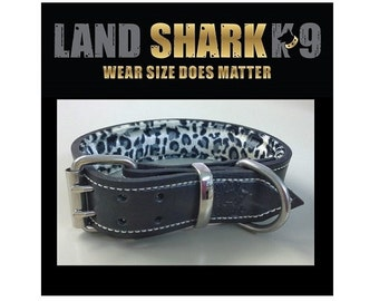 Black Leather Dog Collar with Soft Velour Leopard Skin Patterned Padded Inner Lining