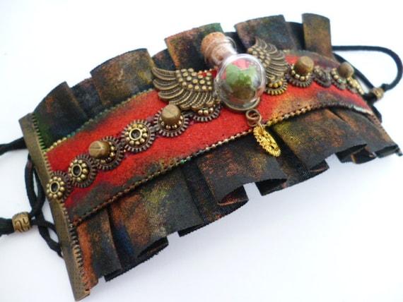 Steampunk Fasion Bracelet_Gift Ideas_Bottle RoseTextile End Bracelet_Steampunk Jewelry by MultiStyle steampunk buy now online