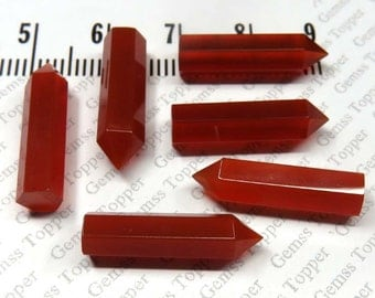 Natural Red Chalcedony Gemstone Wand 5x20mm Faceted Gemstone Pencil - Top Quality Single Point Chalcedony Gemstone Pencil - For One Pencil