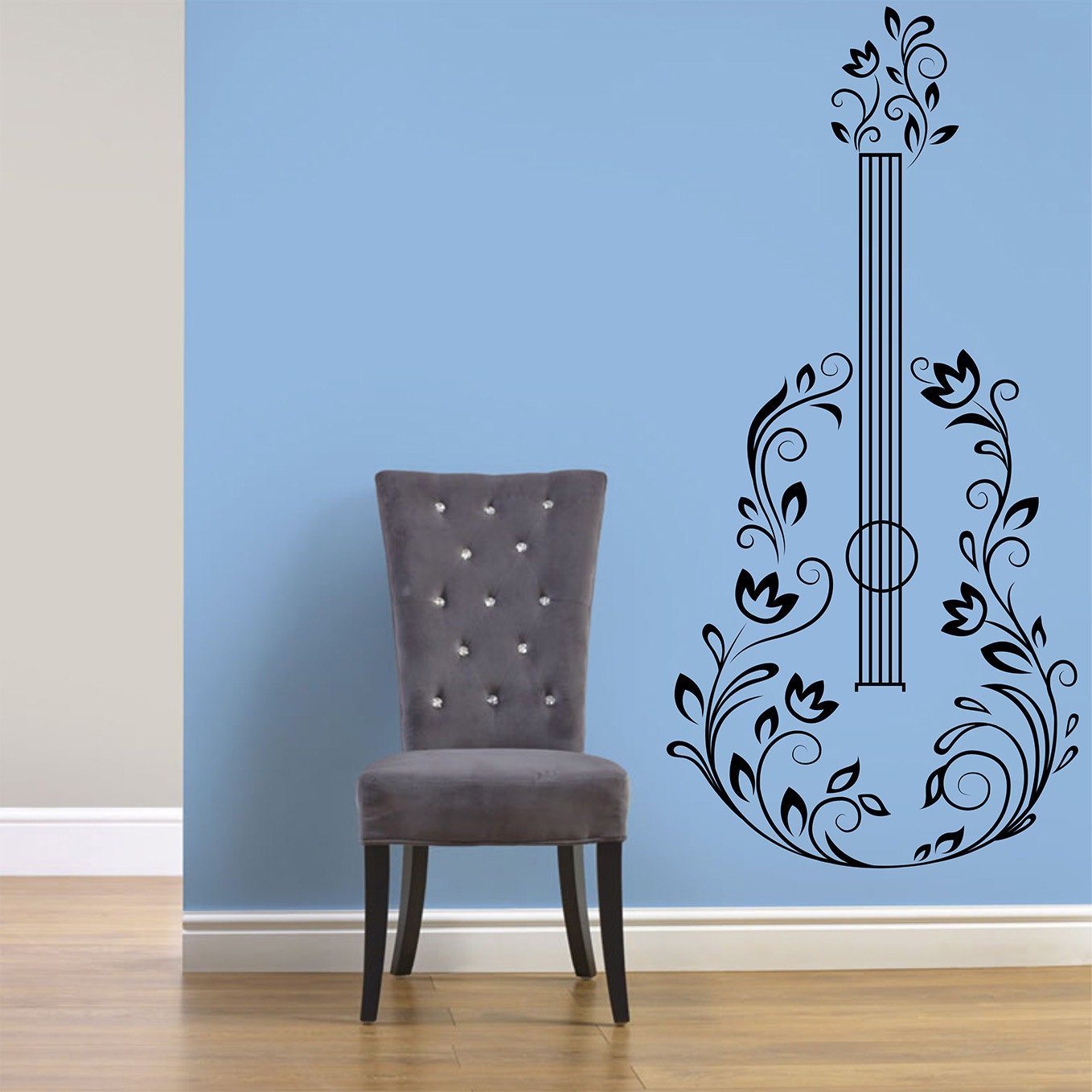 Guitar With Flowers Wall Decal Music Wall Decal Guitar Wall - Custom vinyl guitar stickers