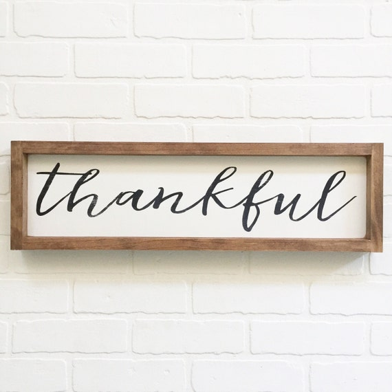 7x24 Thankful Wood Sign Home Decor Painted By