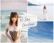 90 Sky Photoshop Overlays, Sky Overlays, Sunset Overlays, Pastel Sky, Blue Sky Overlays, Sky Backdrop, Digital Backdrop, Instant Download