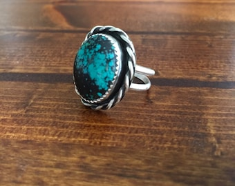 Beautiful natural oval turquoise sterling silver ring- size 7