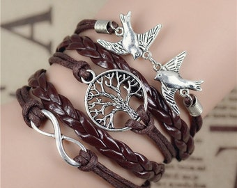 Friendship Bracelet leather with silver plated charm birds, tree of life, infinite No. 0490
