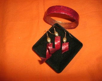 HAND made EARRINGS with matching BRACELET