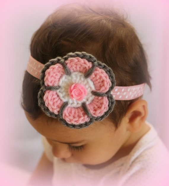 Pink and Gray Headband, Crochet Flower  Headband, Baby Flower Headband, Easter Headband, Toddler Headband, Baby Gift, Photo Props