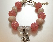 Pink and white bubblegum bracelet, little girl bracelet, butterfly bracelet, charm bracelet