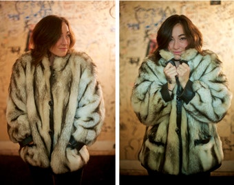 SALE! Faux Fur Coat - Tissavel Mink / Russian Fur / Silver