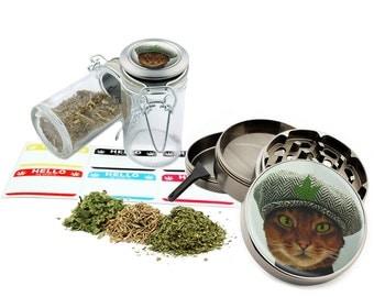 """Cat Leaf - 2.5"""" Zinc Alloy Grinder & 75ml Locking Top Glass Jar Combo Gift Set Item # 50G102015-24"""