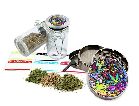 """Psychedelic Leaf - 2.5"""" Zinc Alloy Grinder & 75ml Locking Top Glass Jar Combo Gift Set Item # G022015-014"""