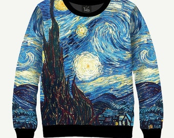 Starry Night By Vincent Van Gogh - Men's Women's Sweatshirt | Sweater - XS, S, M, L, XL, 2XL, 3XL, 4XL, 5XL