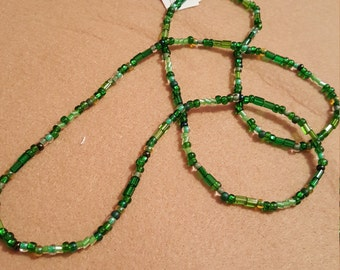 Emerald Czech 6/0 Multi Stretch Necklace