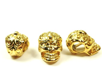 Gold Plated Brass Skull Beads, High Detail, Real Gold Plating, 12x8x8mm, Hole: 4mm