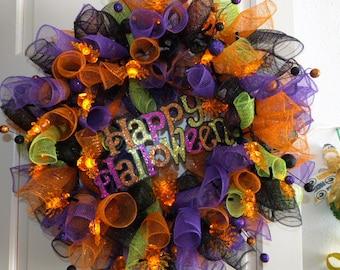 Happy Halloween LED Lighted wreath