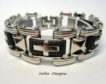 Stainless Steel Bicycle Chain Bracelet,,Biker Bracelet with cross decoration.