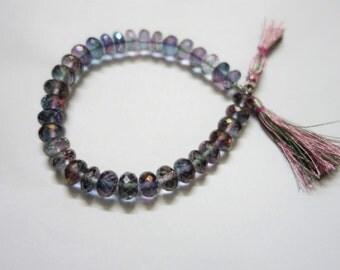 Green Mystic Coated Quartz Faceted Rondelle Beads, Mystic Quartz Rondelle Beads