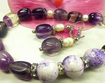 Fluorite set with coral and freshwater pearls