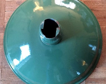 "Vintage Service Station Industrial Lighting 16"" Green White Porcelain Enamel Shade"