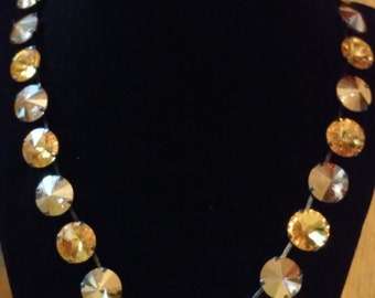 Black and yellow swarovski crystals necklace