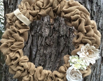 Burlap wreath - seasonal burlap wreath - spring inspired burlap wreath - spring burlap wreath