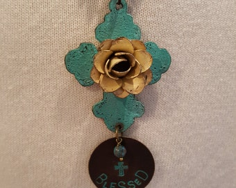 "Cross Necklace with Rose and ""Blessed"" Charm"