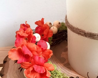 Fall decoration, autumn candle, fall candle wreath, fall flowers