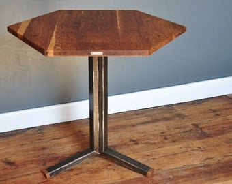 Bistro table / side table in solid oak & metal