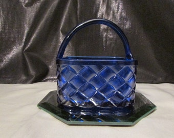 Cobalt Blue Basket candy dish
