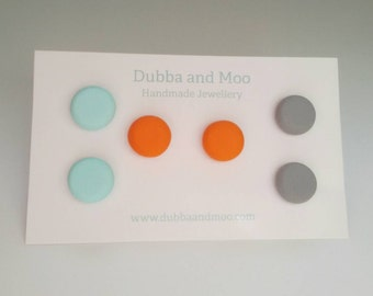 Retro orange mint grey stud earring set funky