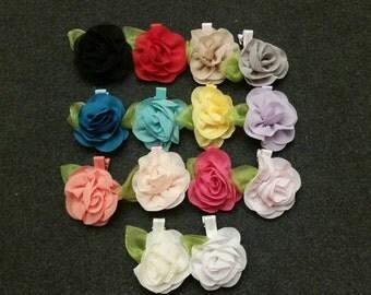 Set of 14 Chiffon Flower Hair Clips, Flower Hair Clips, Baby Hair Clips, Toddler Hair Clips, Baby Bows, Flower Hair Clips, Girls Hair Clips