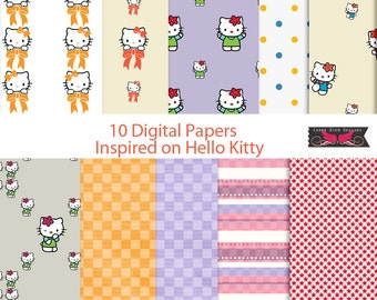 10 Digital Papers Inspired on Hello Kitty