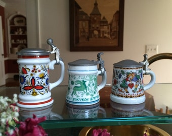 German Miniature Beer Steins, set of 3, Pewter top, Excellent condition