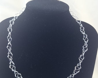 Crocheted Silver Wire Necklace