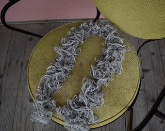 Silver Sequined Knitted Scarf