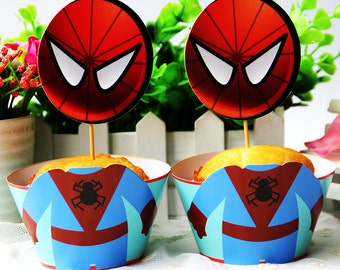 Spiderman Wrapper & Cupcake Toppers - Set of 12 - Perfect for your next Superhero Party!