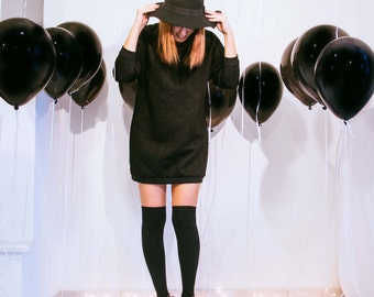 Womens sweatshirt // black dress // black hoodie // womens sweater // oversized blouse // vintage blouse