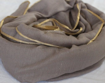 Misty Grey scarf/hijab with Gold border and subtle sparkles
