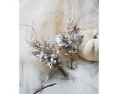 Antique Corsage Set, Silver Vintage Paper Boutonniere, Vintage Anniversary, Silver Wedding Myrtle Pins, Best Men Bouquettes