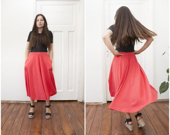 80s coral pink circle skirt elastic waist vintage semi circle long skirt 80's maxi jersey skirt pocket skirt size 42 M L summer cotton skirt