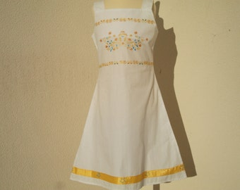 Girl's dress, white dress, embroidered, white dress - yellow summer dress, strap dress, cotton, Ribbon, yellow, girl, 6, 8, 10, 12 years, hand embroidery