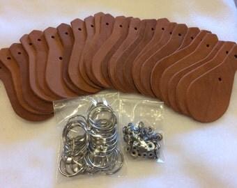 Leather Key Fob Kit 25 pack dark oak.
